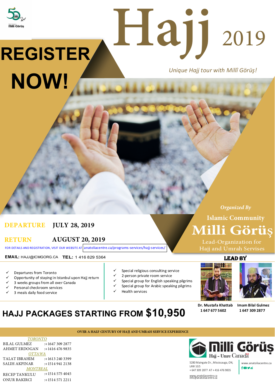 2019 Hajj Package - ICMG - Anatolia Islamic Center