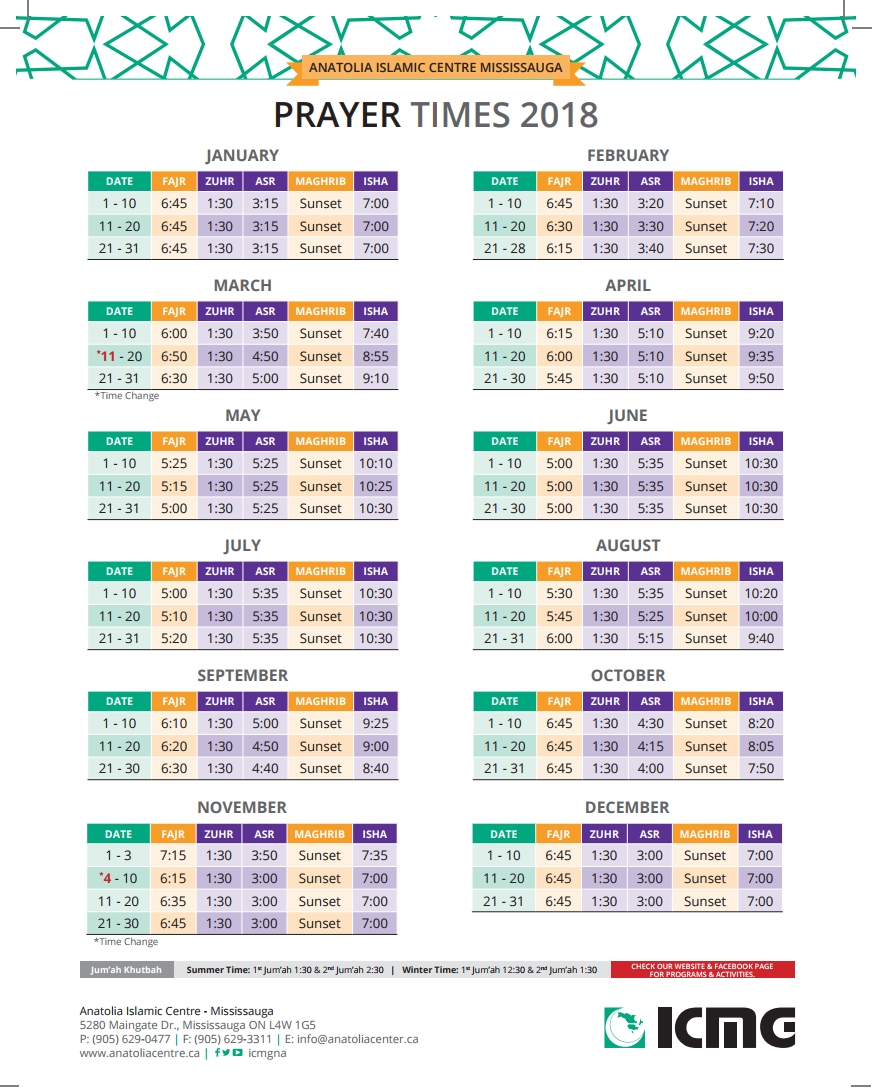 Prayer Times 2018 - Anatolia Islamic Center